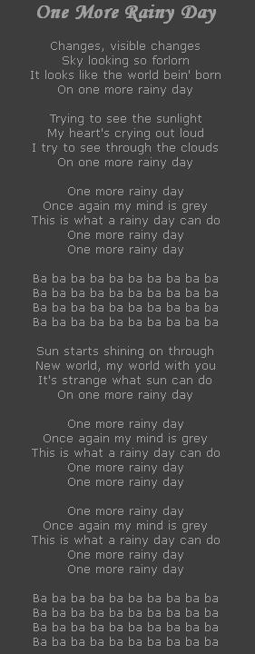 One More Rainy Day